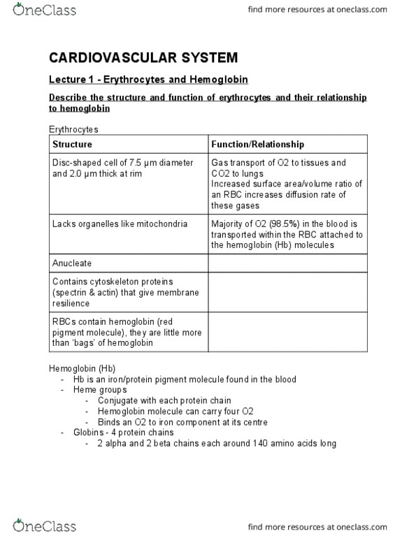 BMS130 Lecture Notes - Lecture 2: Hematocrit, Spectrin, Hemoglobin