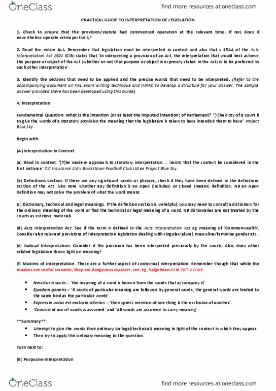 LAWS1201 Study Guide - Fall 2017, Final - Broadcasting Services Act 1992,  Plain Meaning Rule, Amalgamated Society Of Engineers V Adelaide Steamship  Co Ltd