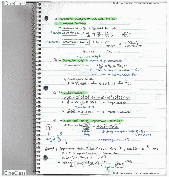 Class Notes for STAT 486 at Queen's University - OneClass