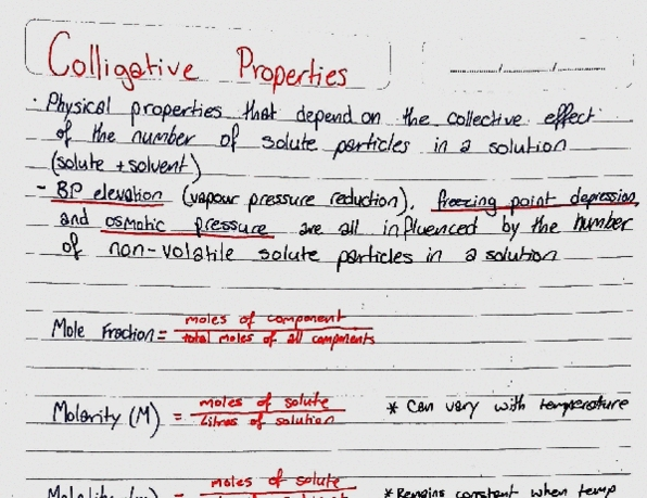 TV 1002:06 Lecture 1: Chemistry 1: Colligative Properties