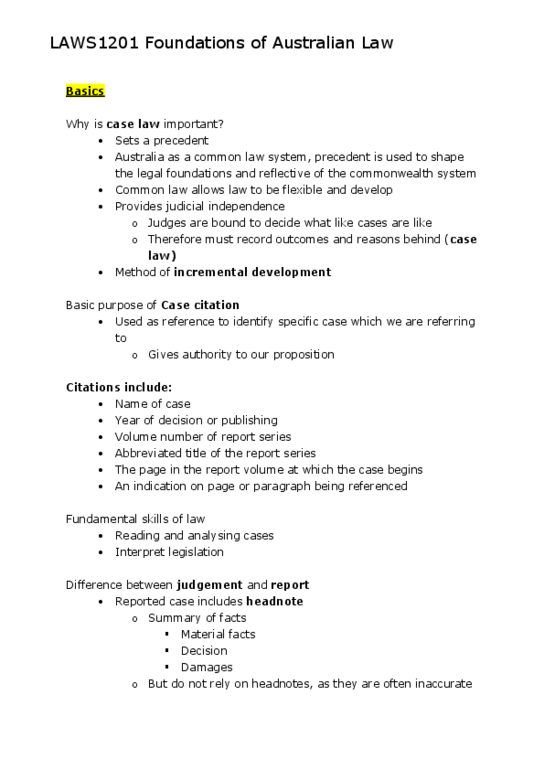 LAWS1201 Final: LAWS1201-Foundations-of-Australian-Law