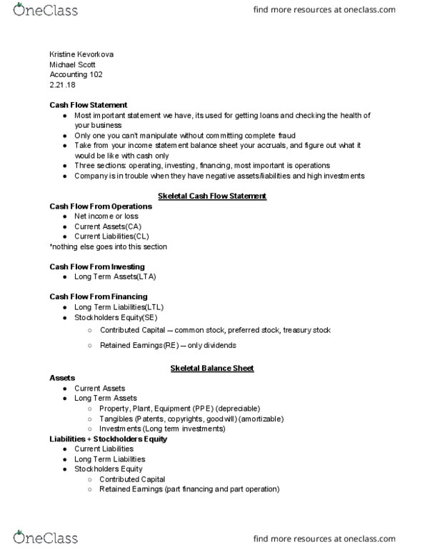 ACCTG 102 Lecture Notes - Spring 2018, Lecture 13 - Net Income