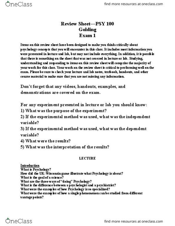 PSY 100 Study Guide - Final Guide: Hershel Greene, Xerostomia, Fluoxetine