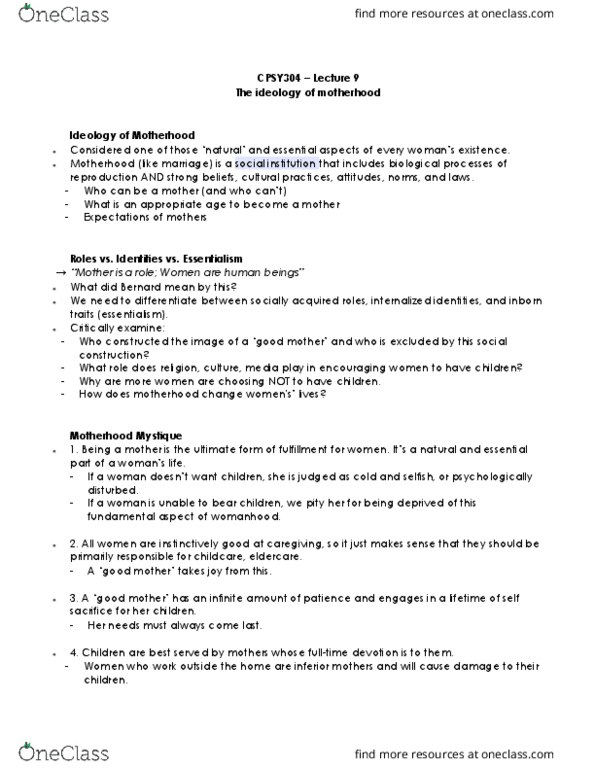 Class Notes for Kathleen Fortune - Page 2 - OneClass