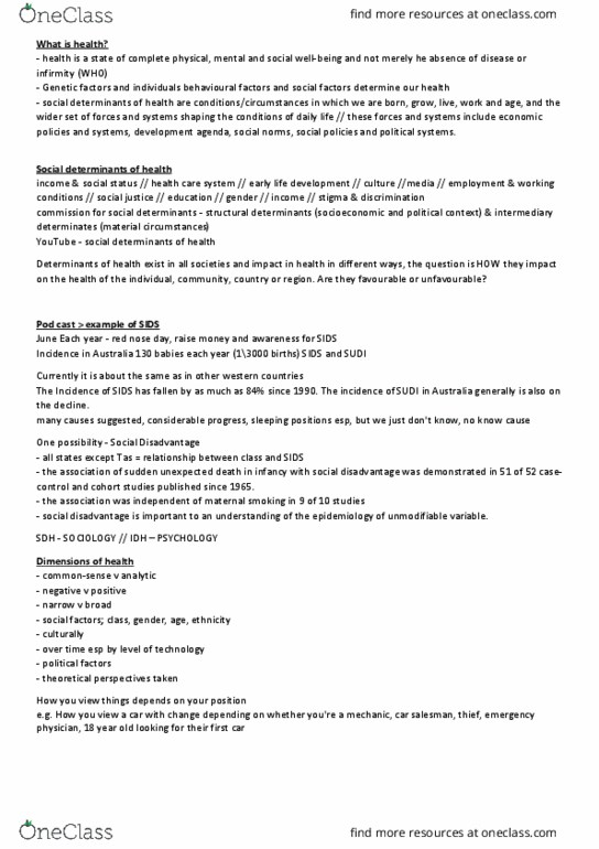 PHE1SDH Lecture Notes - Spring 2018, Lecture 2 - Smoking And