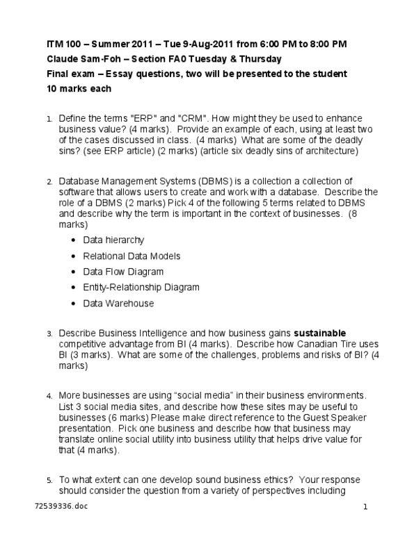 itm 100 final exam questions - OneClass