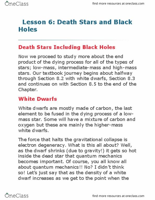 AS102 Study Guide - Summer 2017, Final - White Dwarf