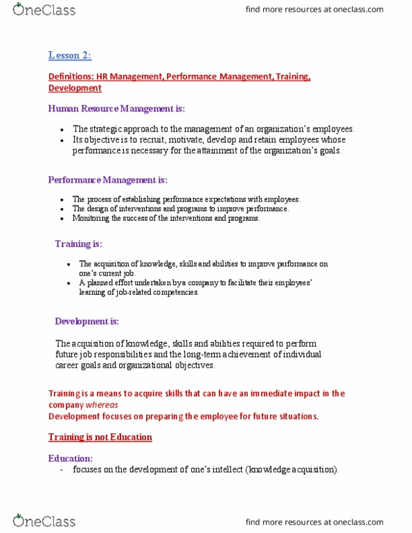 EDUC 240 Lecture Notes - Lecture 2: Human Resource Management, Knowledge  Management, Instructional Design