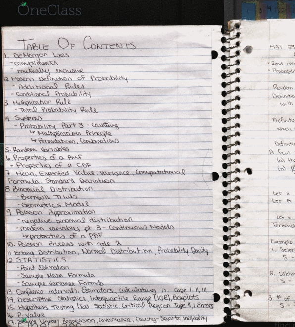 Class Notes for MAT 2377 at University of Ottawa (UOTTAWA