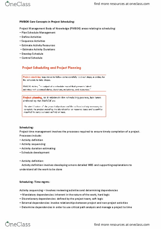 Infs5001 Lecture Notes Winter 2017 Lecture 3 Project Management