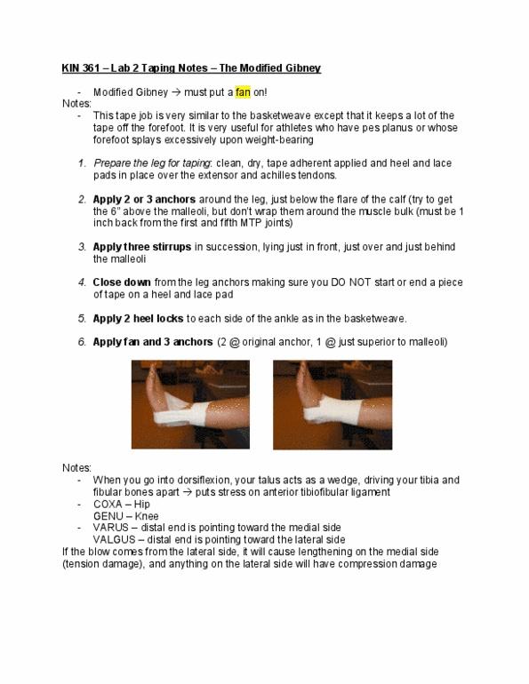 KIN 361 Study Guide - Phagocytosis, Gastrocnemius Muscle, Valgus Stress Test