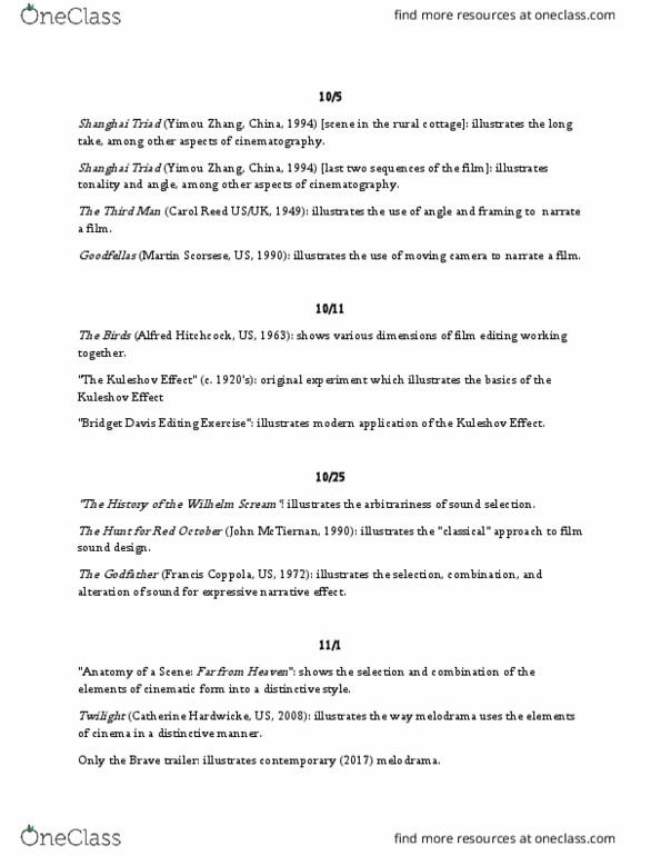 COMM 250 Study Guide - Fall 2017, Midterm - Zhang Yimou