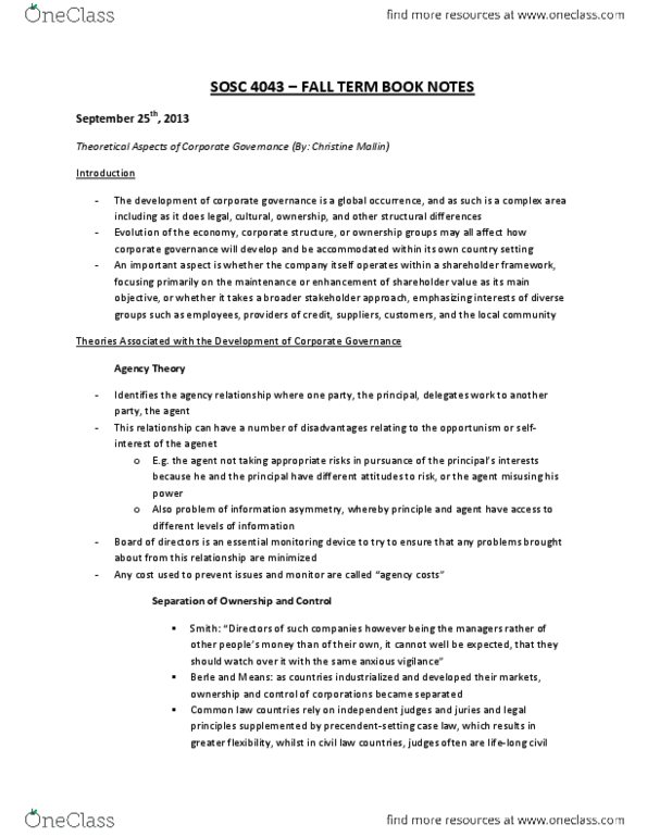SOSC 4043 Chapter Notes -International Paper, American Tobacco Company,  Corporate Capitalism