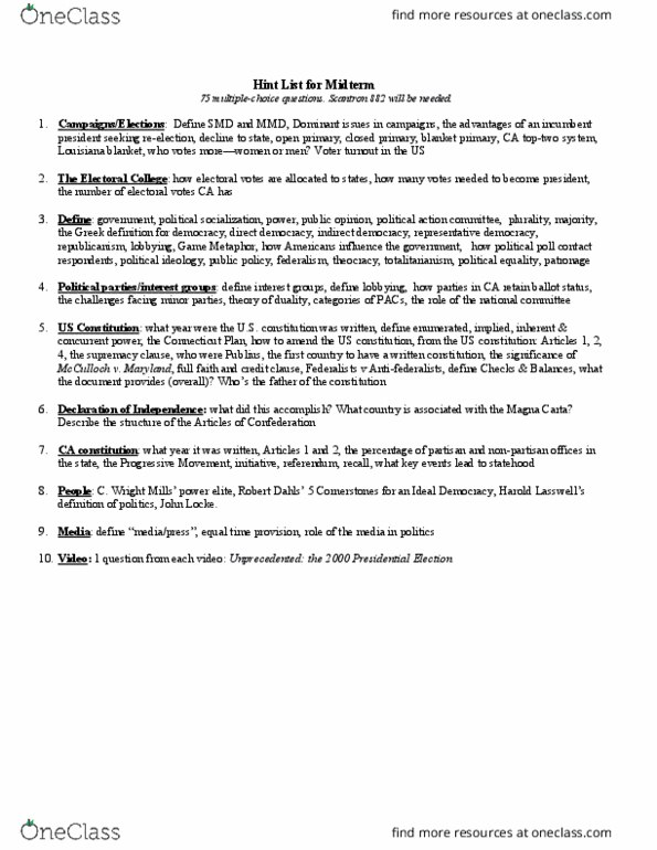 POLS 101 Study Guide - Spring 2018, Comprehensive Midterm Notes - Holland,  United States Senate, History Of The United States Republican Party