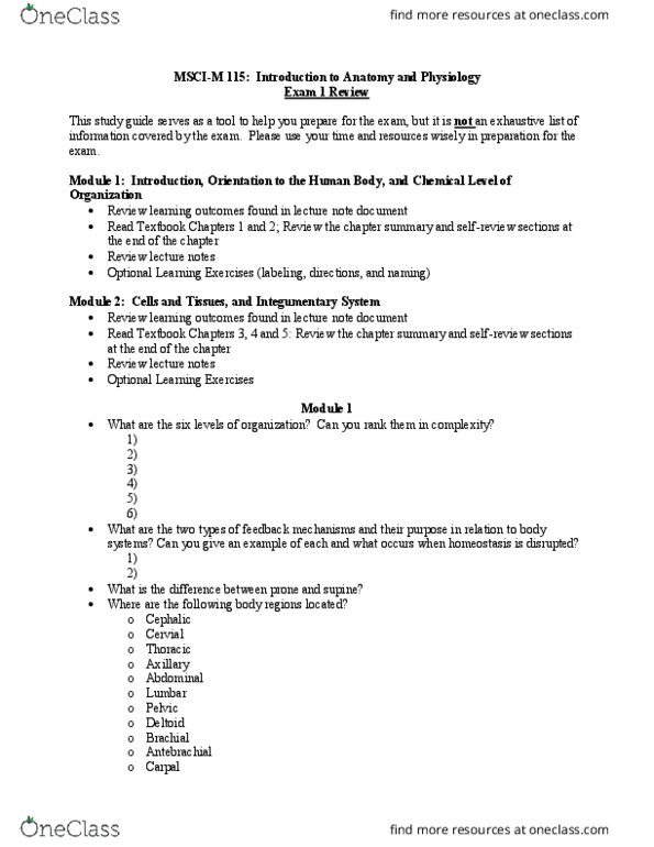 MSCI-M 115 Study Guide - Fall 2018, Quiz - Mitosis, Cell