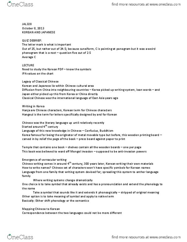 JAL328H1 Lecture Notes - Fall 2013, - Vowel Harmony, Literary