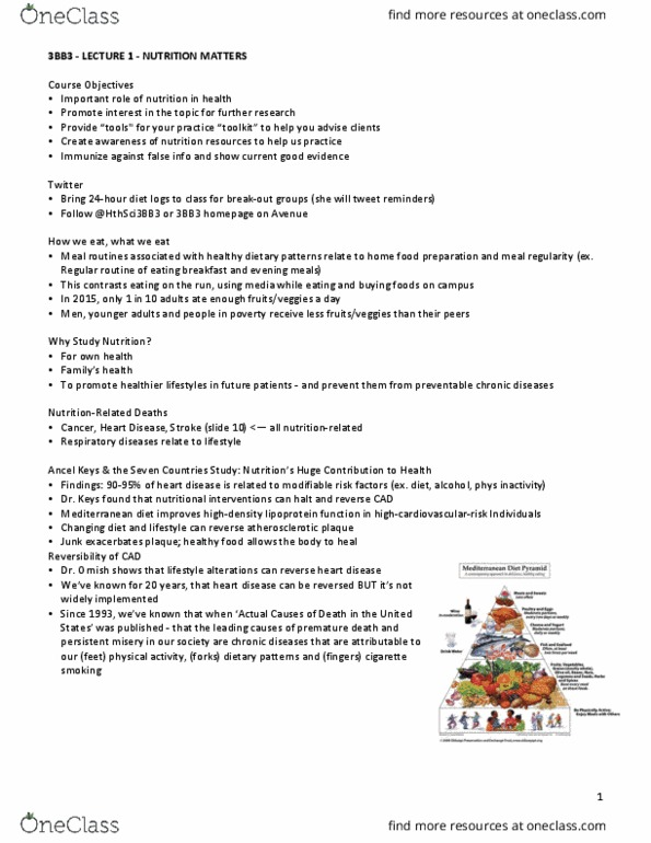 HTHSCI 3BB3 Lecture Notes - Lecture 1: Seven Countries Study, Ancel Keys,  Mediterranean Diet