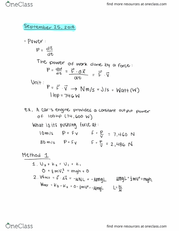 Class Notes for PHYSICS 1250 at Ohio State University (OSU
