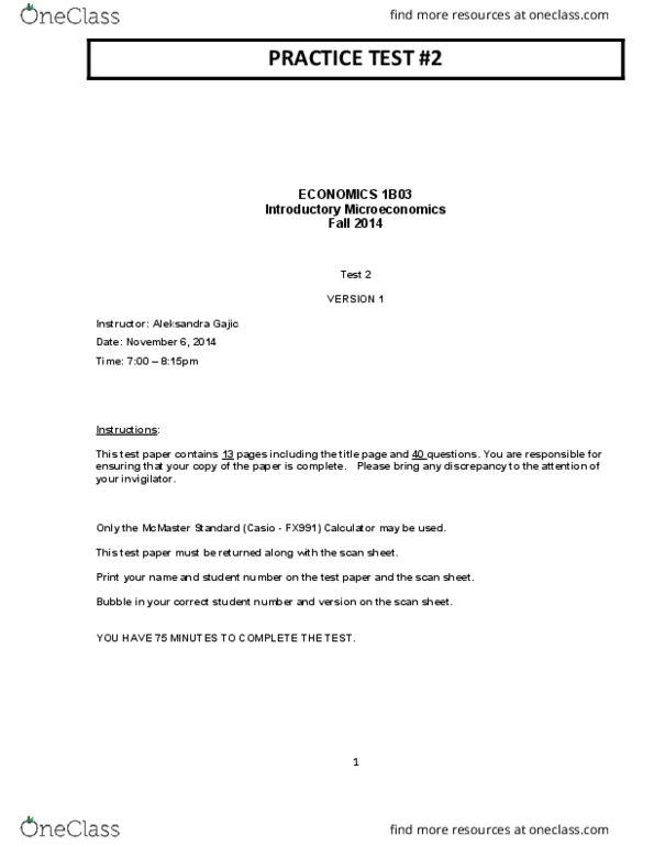 ECON 1B03 Study Guide - Midterm Guide: Pencil, Economic Surplus, Correction  Fluid