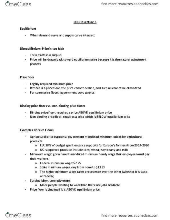 Cas Ec 101 Lecture Notes Fall 2018 Lecture 5 Price
