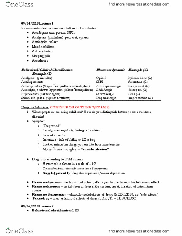 CAS PS 333 Lecture Notes - Pharmacodynamics, Anxiolytic, Diazepam