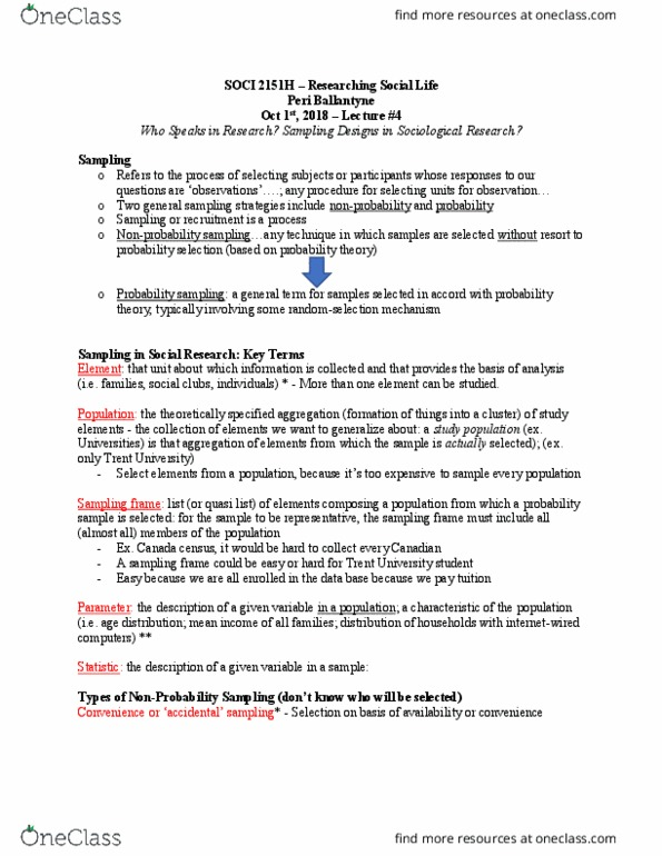 SOCI 2150Y Lecture Notes - Lecture 3: Snowball Sampling, Macedonia Football  Clubs Association, Probability Theory