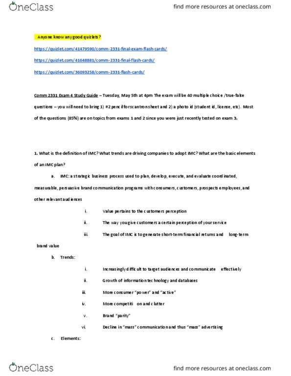 Imc exam study guide