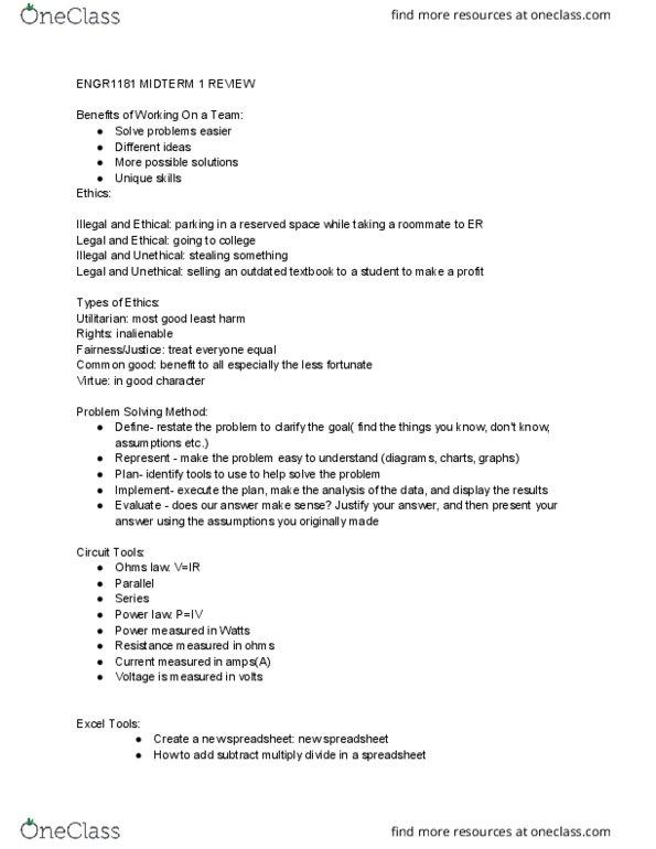 ENGR 1181 01 Study Guide - Midterm Guide: Standard Deviation, Central  Tendency, Scatter Plot