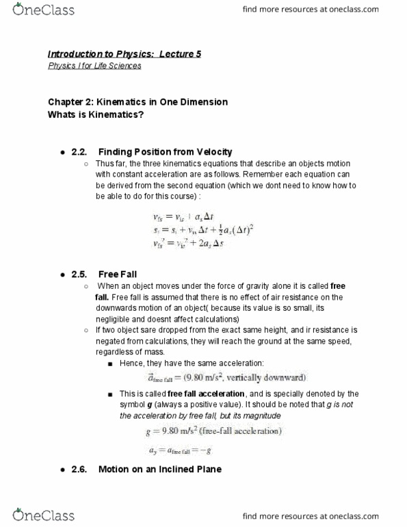 PHYA11H3 Lecture Notes - Lecture 1: Ferris Wheel, Projectile Motion