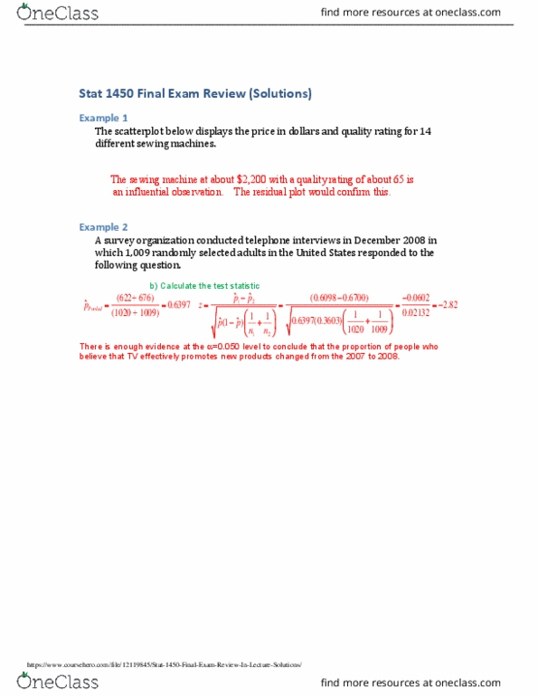 STAT 1450 Study Guide - Fall 2018, Final - Test Statistic, Scatter