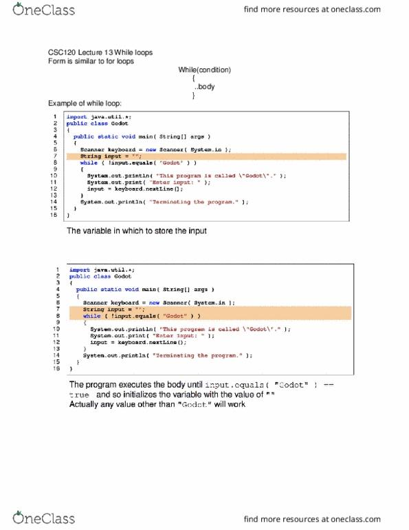 CSC 120 Study Guide - Comprehensive Final Exam Guide - Java Virtual  Machine, Quotation Mark, Data Type