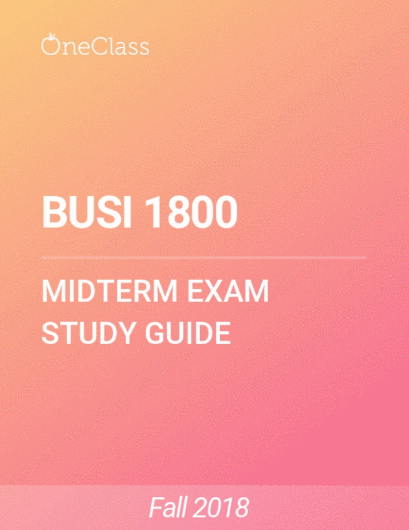BUSI 1800 Study Guide - Fall 2018, Comprehensive Midterm Notes - Human  Resources, Universal Product Code, United States Dollar