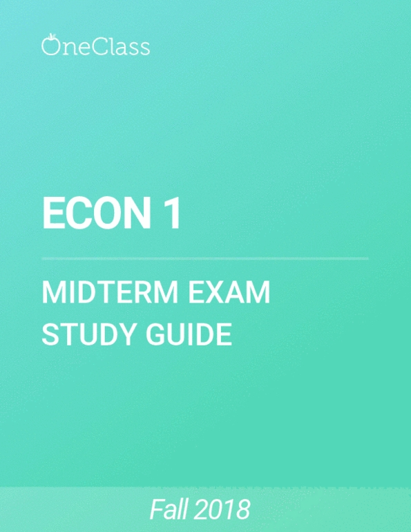 ECON 1 Study Guide - Comprehensive Final Exam Guide - Labour Economics,  Opportunity Cost, Interest Rate