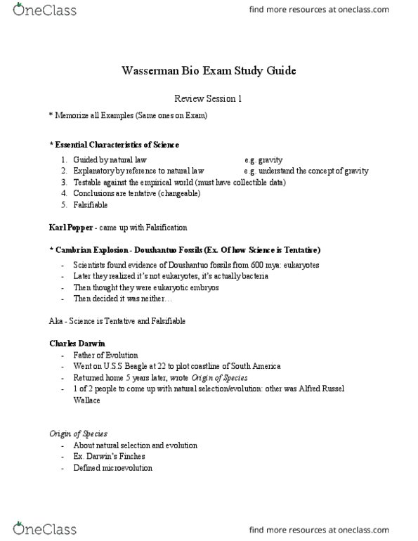 CAS BI 107 Study Guide - Midterm Guide: Carl Linnaeus, James Hutton,  Georges Cuvier