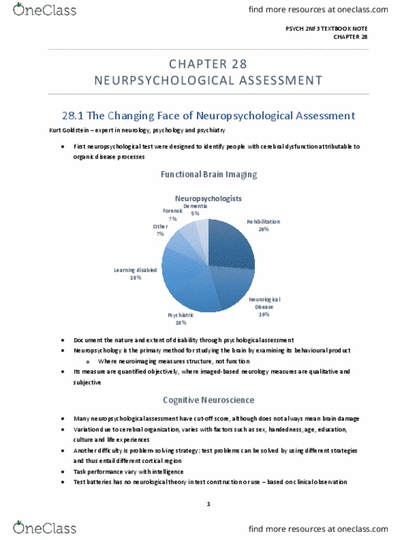 Ask Expert What Is Neuropsychological >> Psych 2nf3 Textbook Notes Fall 2018 Chapter 28 Kurt Goldstein