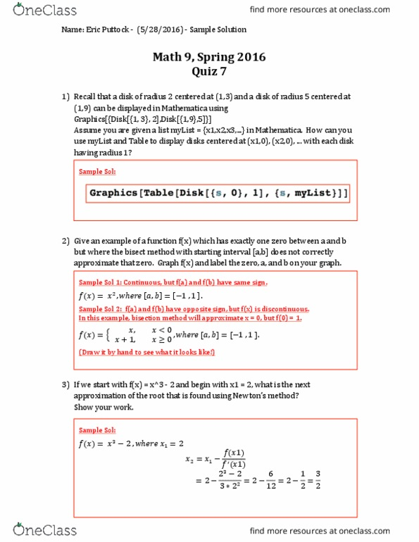 MATH 9 Study Guide - Fall 2018, Quiz - Bisection Method