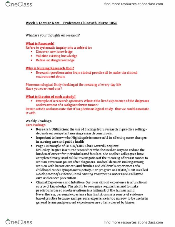 NURS-1056EL Study Guide - Comprehensive Final Exam Guide - Nursing, Time,  Perry