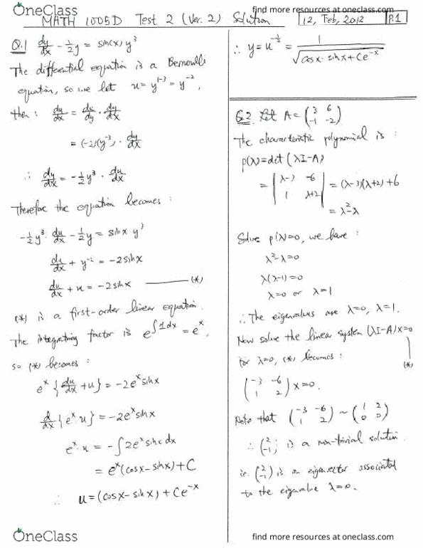 All Educational Materials for MATH 1005 at Carleton University