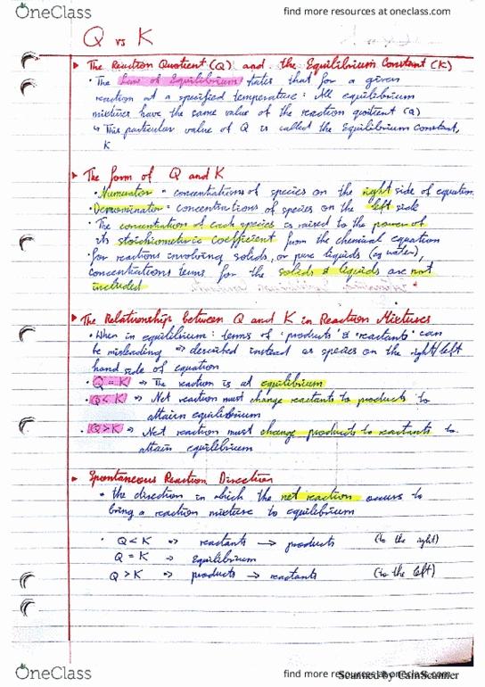 CHEM1003 Lecture 24: Q vs K
