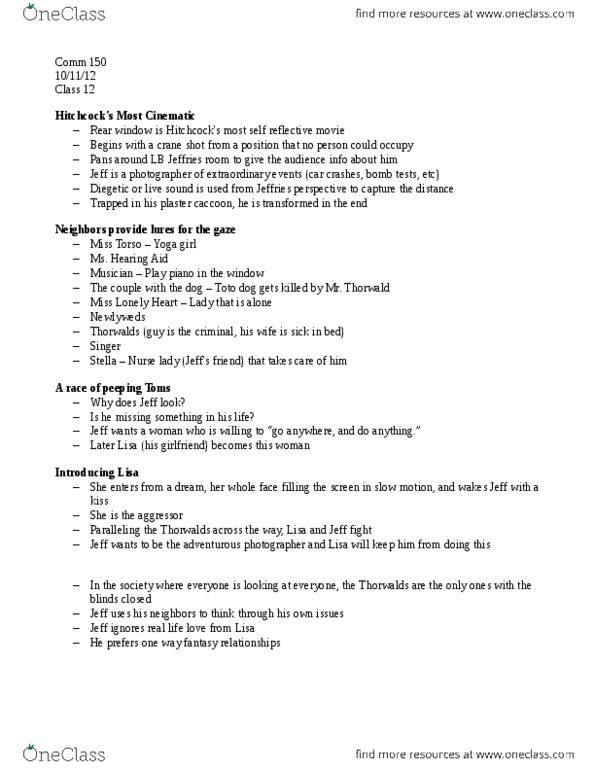 COMM 150 Lecture Notes - Crane Shot