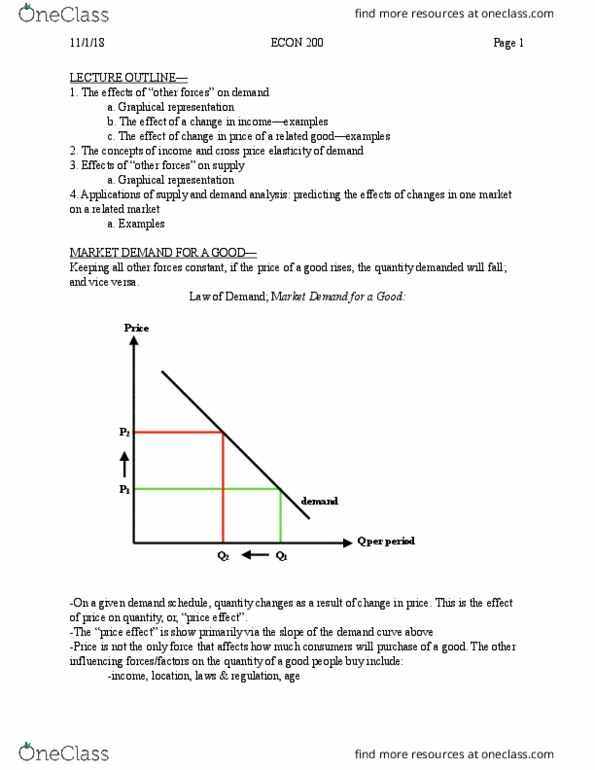 Econ 200 Lecture Notes Fall 2018 Lecture 11 Demand Curve
