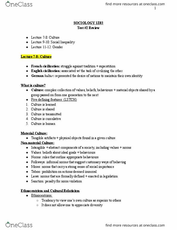 SOCIOL 1Z03 Study Guide - Fall 2018, Quiz - Cultural