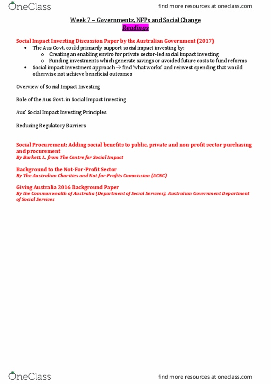 COMM1000 Lecture Notes - Lecture 7: Impact Investing, Australian Charities  And Not-For-Profits Commission