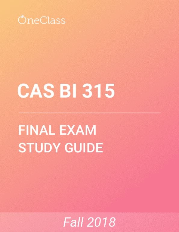 CAS BI 315 Study Guide - Comprehensive Final Exam Guide - Neuron, Hormone,  Final Fantasy Xiii