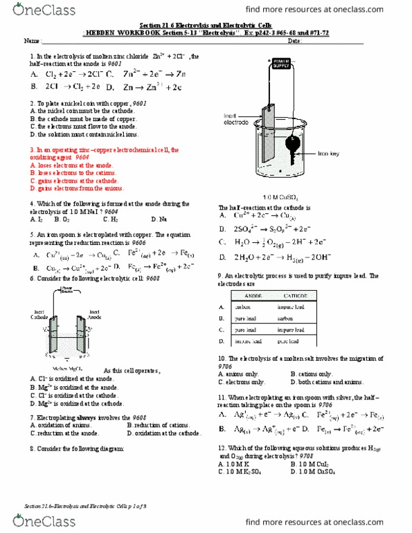 SA 150 Lecture Notes - Fall 2018, Lecture 3 - Electroplating