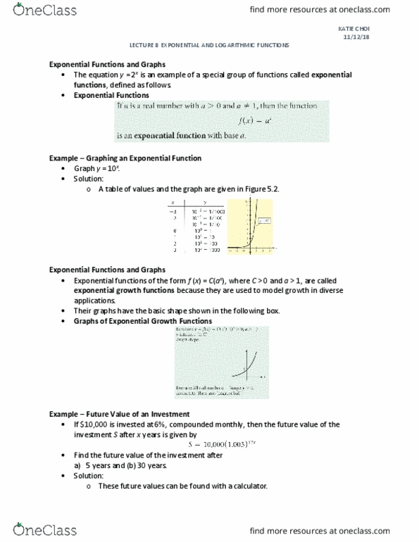 ITM 107 Lecture Notes - Fall 2018, Lecture 10 - Exponential