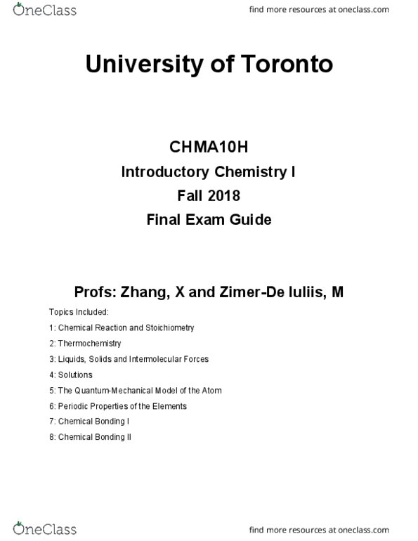 Class Notes for CHMA10H3 at University of Toronto