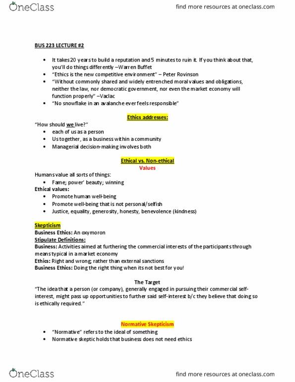 BUS 223 Lecture Notes - Winter 2018, Lecture 2 - Warren