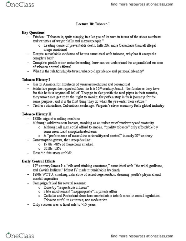 HLTHAGE 2L03 Lecture Notes - Lecture 10: Murad Iv, Columbian Exchange,  World War I
