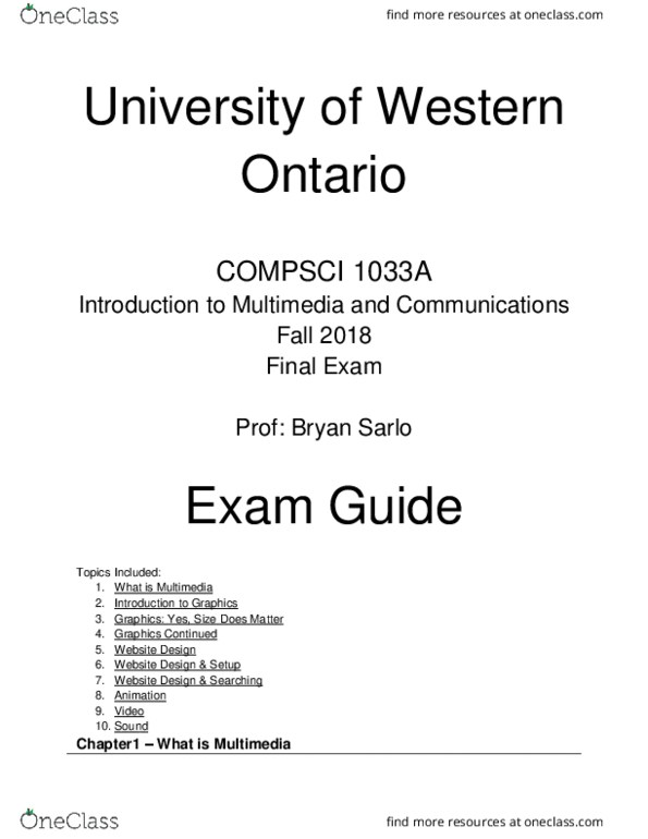 Computer Science 1033A/B Study Guide - Final Guide: Yuv, File Transfer,  Hertz